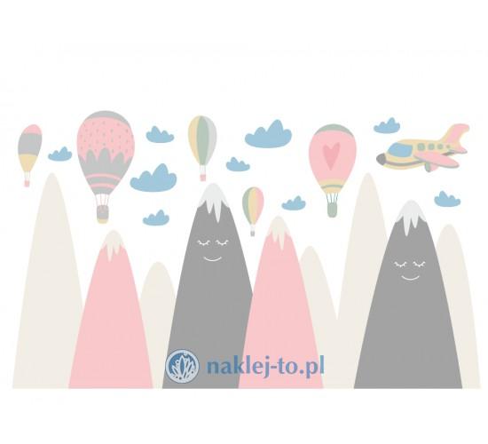 Naklej-to oferuje naklejkę dla dzieci góry z balonami wersja różowa