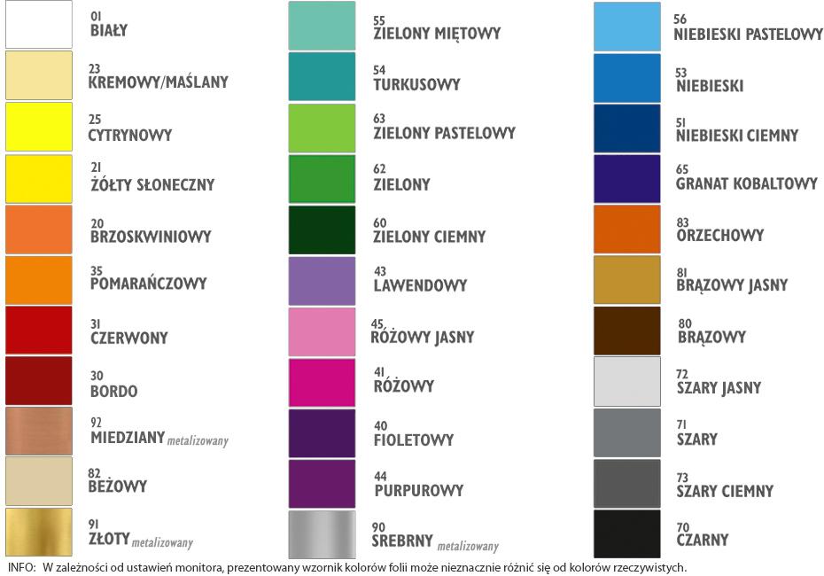 Wzornik kolorów naklejek